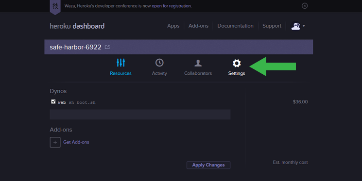 Heroku Settings