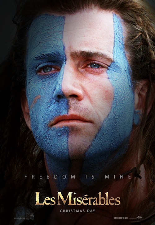 les miserables poster russel crowe braveheart parody
