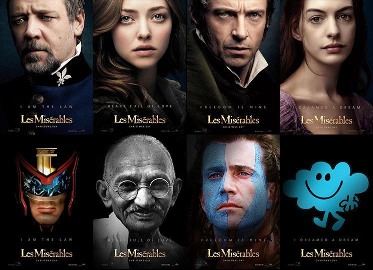 Les Misérables poster russel crowe judge dredd parody