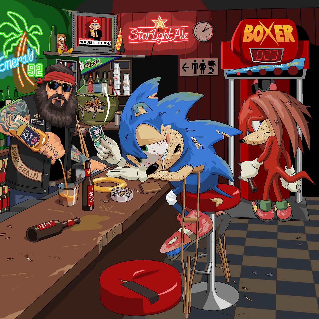 A bitter, washed up Sonic the Hedgehog by Jim'll Paint It